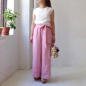 <ラスト1本!>カラーリネンのワイドイージーパンツ strawberry pink