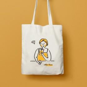 かわいい女の子のトートバッグオリジナルのイラストキャンバスの袋