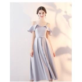 パーティドレス キャミソールドレス ワンピース ブライズメイドドレス ミモレ丈 可愛い イブニングドレス 二次会 お呼ばれ
