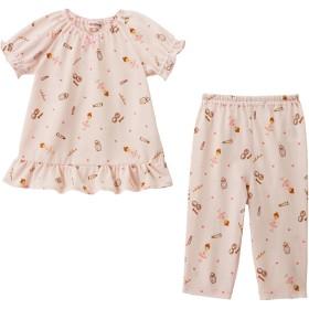 ミキハウス リーナちゃん タック天竺素材の半袖パジャマ ピンク