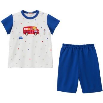 ミキハウス プッチー タック天竺素材の半袖パジャマ(6分丈パンツ) 白