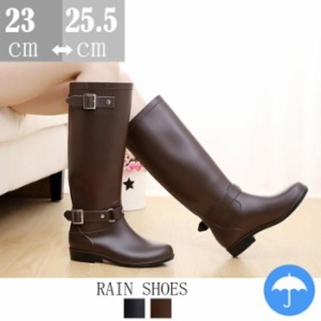 ベルト付 ロングレインブーツ/ラバーブーツ/レインシューズ/ゴム長靴/雨靴/梅雨 雨の日/雨具/エンジニアブーツ風/スノーブーツ 防水