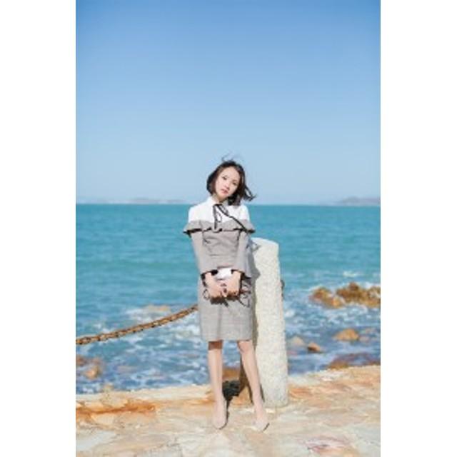 38c9165a1f09b フェイクレイヤード ドレス グレンチェック ワンピース パーティ レディース 二次会 きれいめ 結婚式 韓国 20代