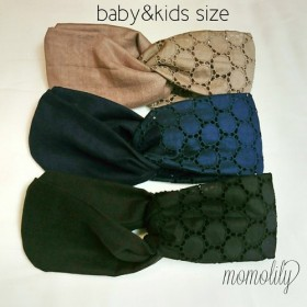 baby & kids ハーフレースのヘアターバン dark colour