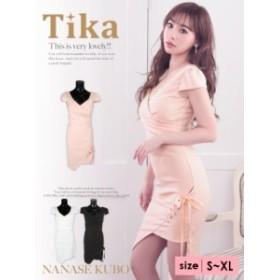 Tika ティカ 編み上げリボンデザインワンカラータイトミニドレス (ホワイト/ピンク/ブラック) (S/M/L/XL) 韓国ドレス 大きいサイズ キャ