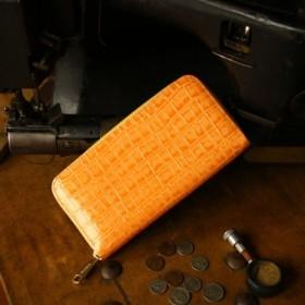 【送料無料】永久無料保証の新進工房 エナメルクロコの型押し革。 オレンジ 長財布 ラウンドファスナー 牛革 皮