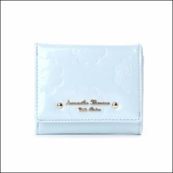 サマンサタバサ プチチョイス ペココレクション エナメル型押し ミニ財布 ブルー