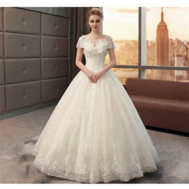 596ad465ae251 おすすめ 宮廷風 レース ウェディングドレス オフショルダー Aライン 白 結婚式 披露宴 ベール パニエ