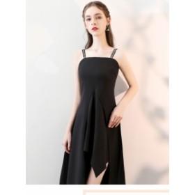 キャミソール ワンピース パーティドレス ブラック着痩せセクシー イブニングドレス フォーマル キャバドレス お呼ばれ パーティ