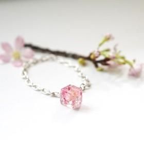 桜の季 - 春限定桜の花びら925シルバー純銀製のブレスレット