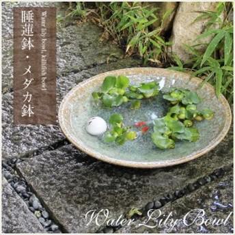 陶器 15号緑古信楽浅型水鉢 メダカ鉢、金魚鉢にも最適 睡蓮鉢 スイレン鉢 ハス鉢 はす鉢信楽焼 おしゃれ 和風【手作り】