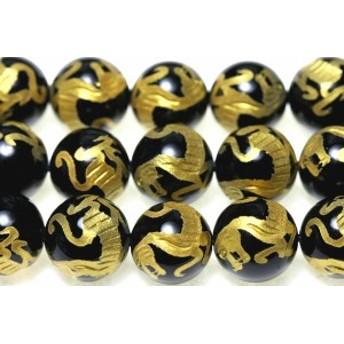 天然石 ビーズ【彫刻ビーズ】オニキス 10mm (金彫り) 白虎 (一連売り) パワーストーン
