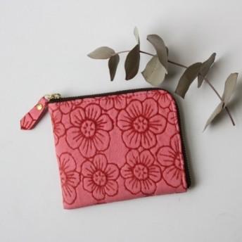 【母の日】ピッグスキンのスリムなミニ財布 フラワー チェリーピンク