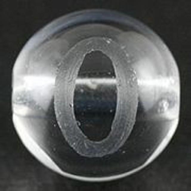 天然石 ビーズ【彫刻ビーズ】水晶 8mm (素彫り) アルファベット「O」 パワーストーン