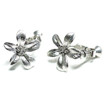 再販【1ペア】Exotic Flower花モチーフマットシルバーネジバネ&カン付きイヤリング、パーツ