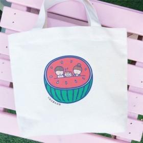 毎日のスイカのキャンバスバッグ(ランチバッグ)手作りのキャンバスバッグ