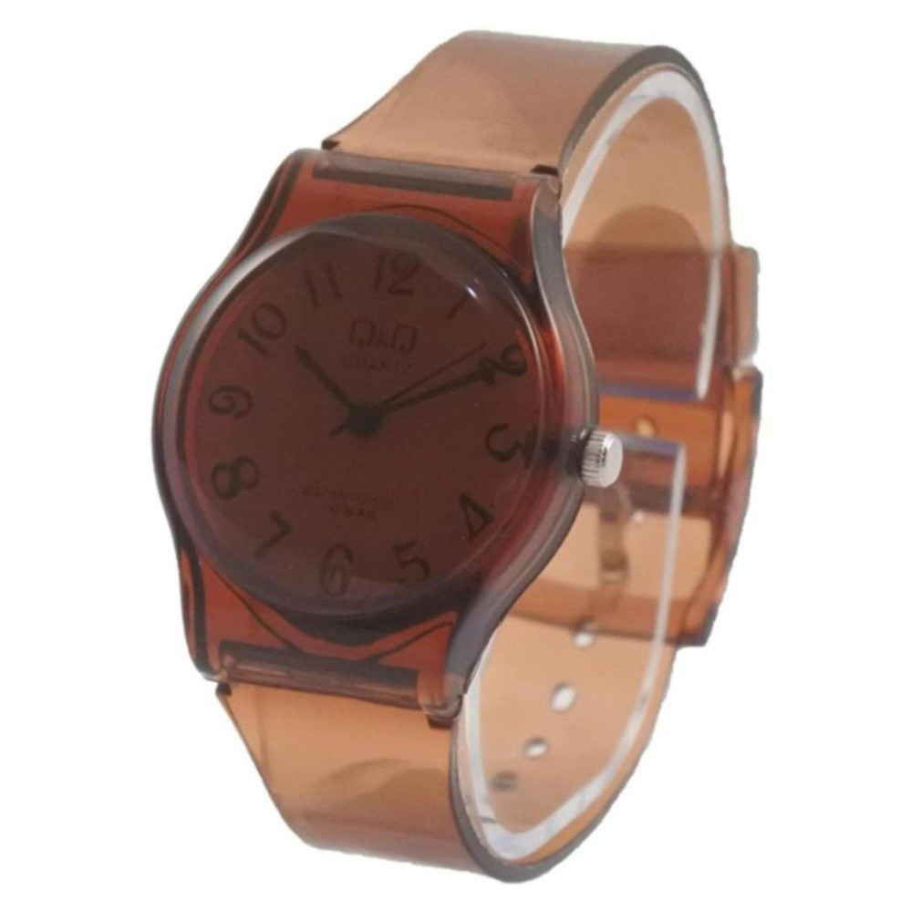 ... Jam Tangan Q&Q Jelly Angka Rubber Transparant Transparan Karet jam tangan unisex murah QQ001 Coklat