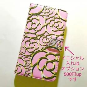カメリア ピンク/ゴールド 可愛い 花柄 オシャレな スマホカバー 全機種対応スマホケース 手帳型ケース No.6