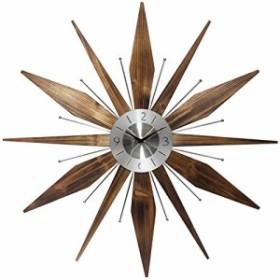 壁掛け時計Infinity Instruments Utopia Mid-Century 30 inch Wood and Metal Wall Clock, Walnut Dark Wood