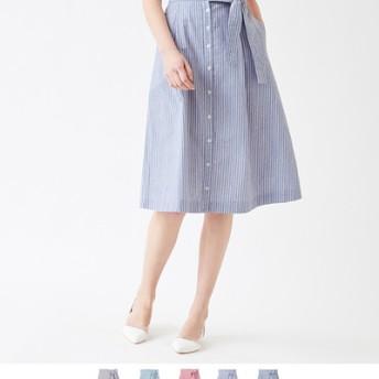マルチストライプフロントリボンAラインスカート