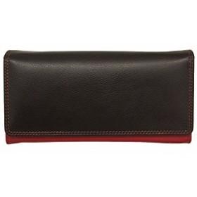 ILIili Leather 7447 Wallet with RFID (Black/ Red)