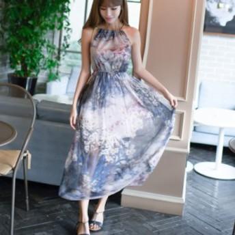 大人 花柄 ワンピース 夏 ボヘミアン シフォン ドレス ロング マキシ リゾート 上品 お呼ばれ drgz0592