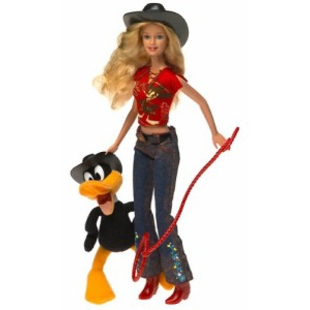 """バービーLooney Tunes Back in Action Barbie Loves Daffy Duck El Pato Lucas Patolino with 6"""" Plush Daffy Duc"""