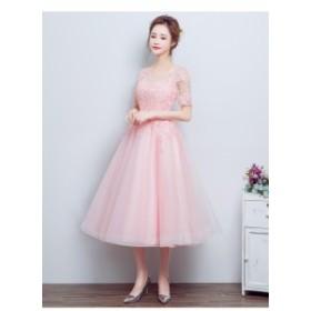 可愛い 韓国風イブニングドレス ピンク パーティドレス袖あり ミモレ丈 ブライズメイドドレス カラードレス ウェディングドレス