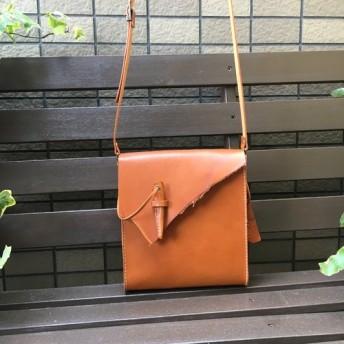 【端革シリーズ 】ショルダーバッグ かんぬき キャメルブラウン ☆送料無料
