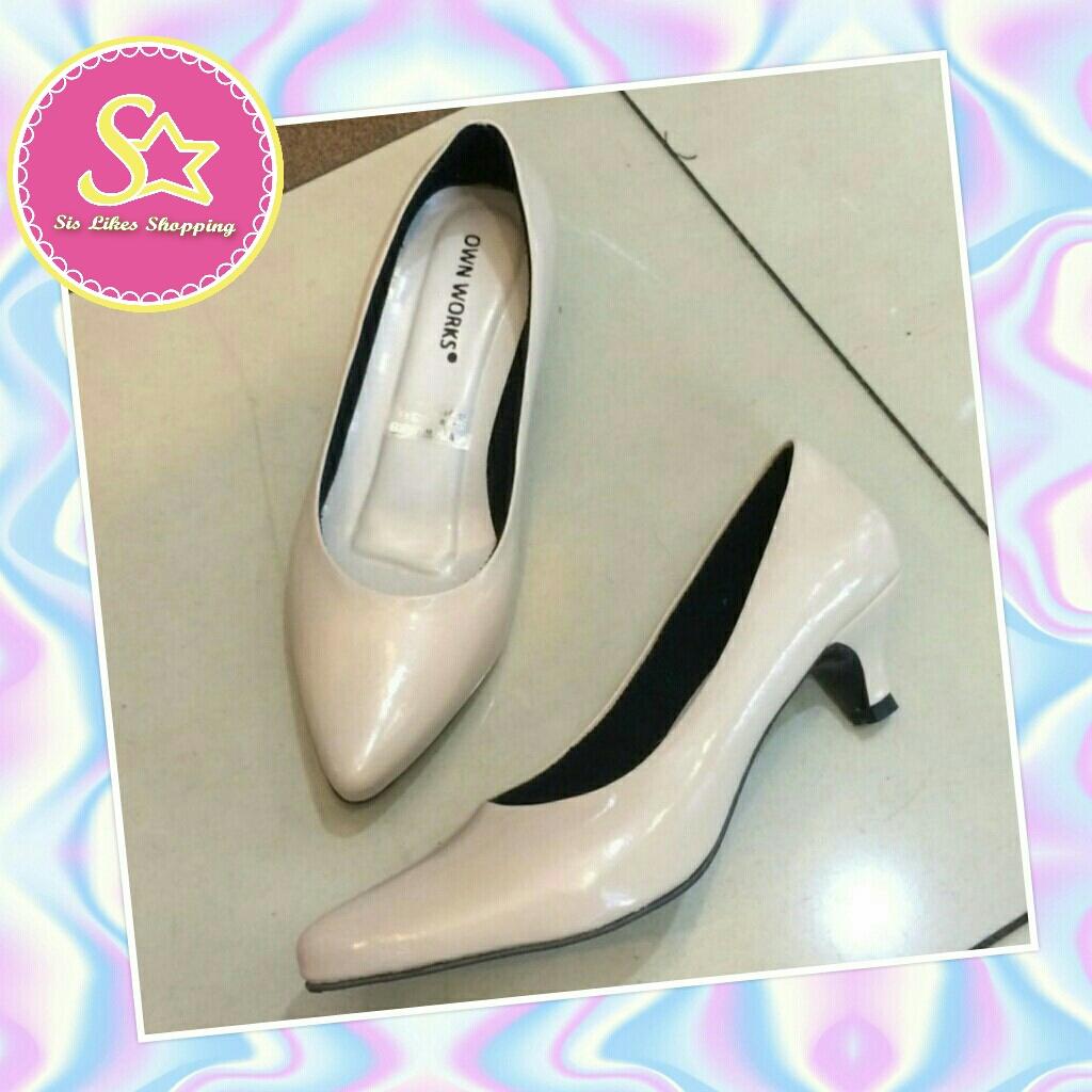 Sepatu Sandal High Heels Wanita Sdh 24 Krem Daftar Harga Terkini D Tb41 Heel 5cm 5 Cm Glossy Glosy Cream Runcing Kerja Formal Kantor