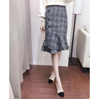 【送料無料】グレンチェック 裾フリルタイトスカート 膝丈フレア