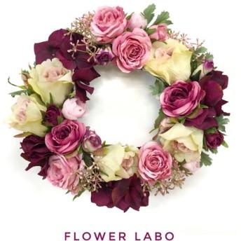 【Rose garden】約29cm フラワーリース♯38(ピンク/ボルドー/ピンクグリーン)WR06