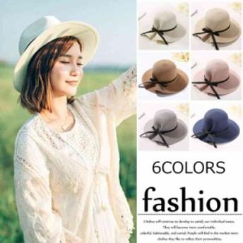 折りたたみ帽子 麦わら帽子 折りたたんで持ち運び シンプルな手編み 女の子 幅広つばで紫外線CUT つば広帽子 おしゃれ日焼け