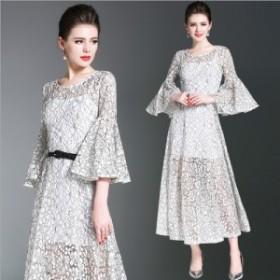 レース 花柄 セクシー Vネック ロング ドレス スカート ワンピース ファッション ラッパの袖 修身 Aライン ドレス