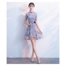 エレガント フォーマルワンピース 中国風 パーティドレス チャイナドレス 着痩せ ショート丈 イブニングドレス