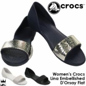 クロックス crocs レディース フラットシューズ 204361 リナ エンブリッシュド ドルセー サンダル カジュアル オープントゥ 060 ブラック