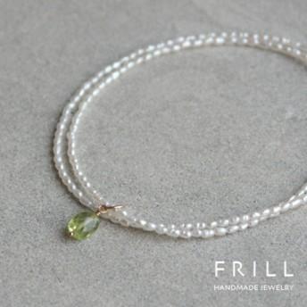 極細淡水真珠とペリドットのネックレス K14GF