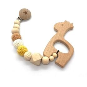 赤ちゃんも大喜びの贈り物 木製 おしゃぶり 歯がため きりんのクリップ