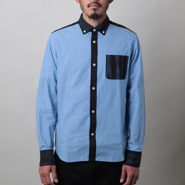 M有松 竜巻絞り 麻×シャンブレー ボタンダウンシャツ 日本製