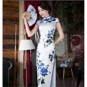 ロングチャイナドレス ワンピース 花柄 キャバドレス パーティー  着痩せ 二次会 演奏会   白青 ホワイト ブルー bai lan qp em hn bx