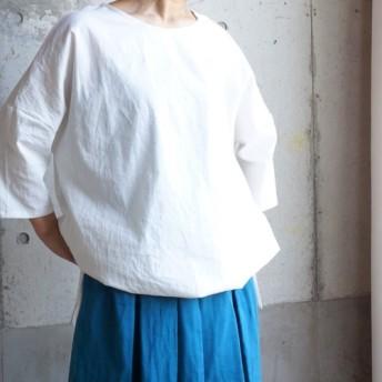 裾リボンのバルーン風ブラウス ( 受注製作 ) アースカラーも選べるハーフリネン
