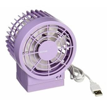 卓上 USB ファン リズム時計 シルキー・ウインド Silky Wind 9ZF002RH12 [紫] 即納!
