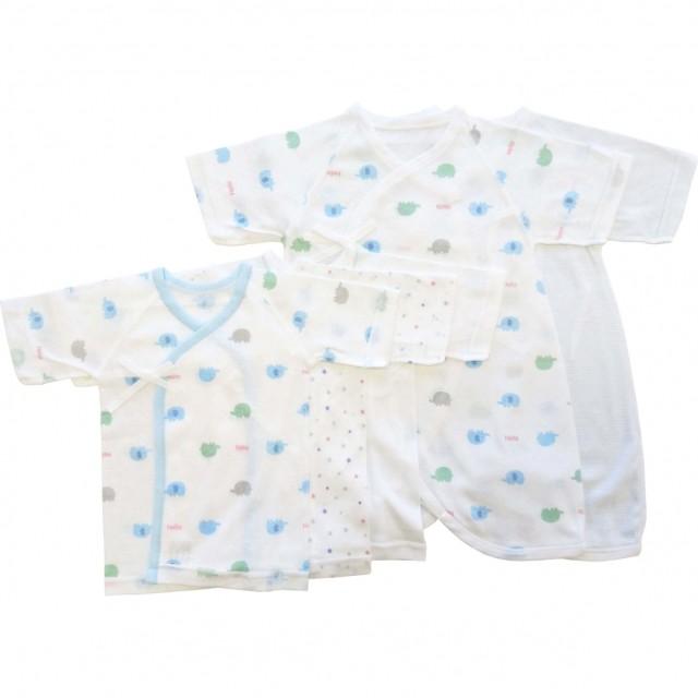 ベビーザらス限定 日本製 5枚入り フライス新生児肌着セット(短肌着・コンビ肌着) ゾウ(ブルー×50-60cm)【送料無料】