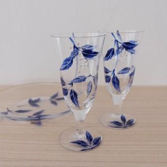 【ブルーリーフ】日本酒グラス1個 父の日ギフト・母の日ギフト・結婚祝い・両親プレゼント・両親贈呈品・還暦祝い・退職祝い