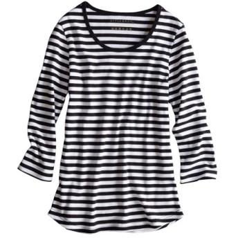 UVカット綿100%フライス素材クルーネック7分袖Tシャツ レディース