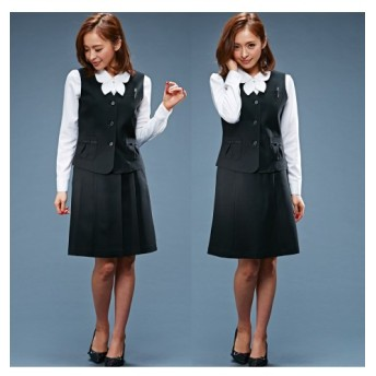 ニッセン 事務服 3点セット ベスト 2スカート 選べる2レングス