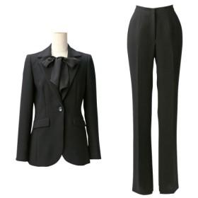 トールサイズ パンツスーツ(胸当て付ジャケット+ソフトブーツカットパンツ)(股下82cm) 【高身長・長身】(ブラックフォーマル),tall