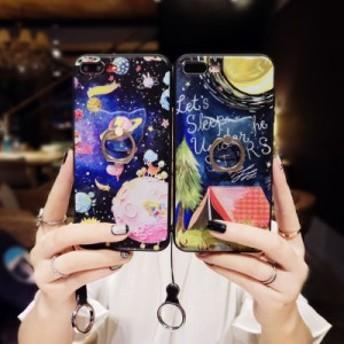 iPhoneX/iPhone8/iPhone8Plus/iPhone7/iPhone7Plus/iPhone6s/iPhone6 Plusケース宇宙柄リングストラップスマホケース