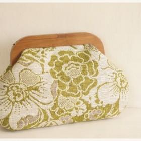 ■2WAYウッドがま口バッグ・ジャガードのグリーンの花柄■
