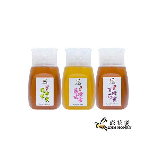 《彩花蜜》台灣嚴選-龍眼/荔枝/百花蜂蜜禮盒組 (350g各1)(促銷組合)